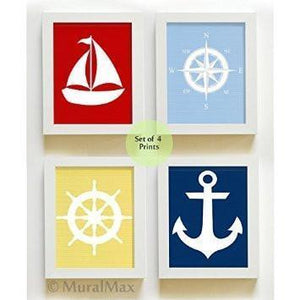 Classic Nautical Nursery Collection - Unframed Prints - Set of 4-B018KOBIMG - MuralMax Interiors