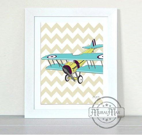 Come Fly With Me Airplane Theme - Unframed Print-B01D7RTOEA-MuralMax Interiors