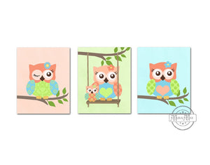 Coral Baby Owl Nursery Decor - Set of 3 - Unframed Prints - MuralMax Interiors