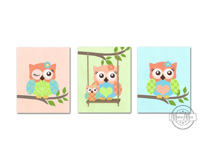 Coral Baby Owl Nursery Decor - Set of 3 - Unframed Prints