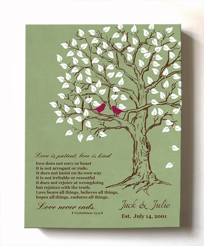 Couples Gift- Family Tree & Lovebirds Canvas Wall Art, Make Your Wedding & Anniversary Gifts Memorable, Unique Wall Decor - Green # 1 - B01HWLKOLO - MuralMax Interiors