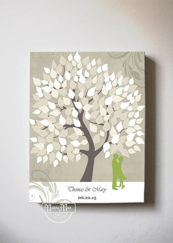 Couples Gift - Wedding Guest Book Alternative Personalized Family Tree Canvas Wall Art - Tan - MuralMax Interiors