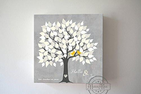 Couples Wedding Gift Guestbook Alternative 100 Leaf Family Tree Canvas Art, Anniversary Gifts, Unique Wall Decor - Gray # 1100Leaf - B01L2L4R8G-MuralMax Interiors