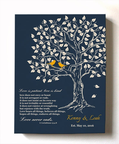 Couples Wedding Gift Personalized Family Tree & Lovebirds Canvas Wall Art, Make Your Wedding & Anniversary Gifts Memorable - Navy - B01HWLKOLO-MuralMax Interiors