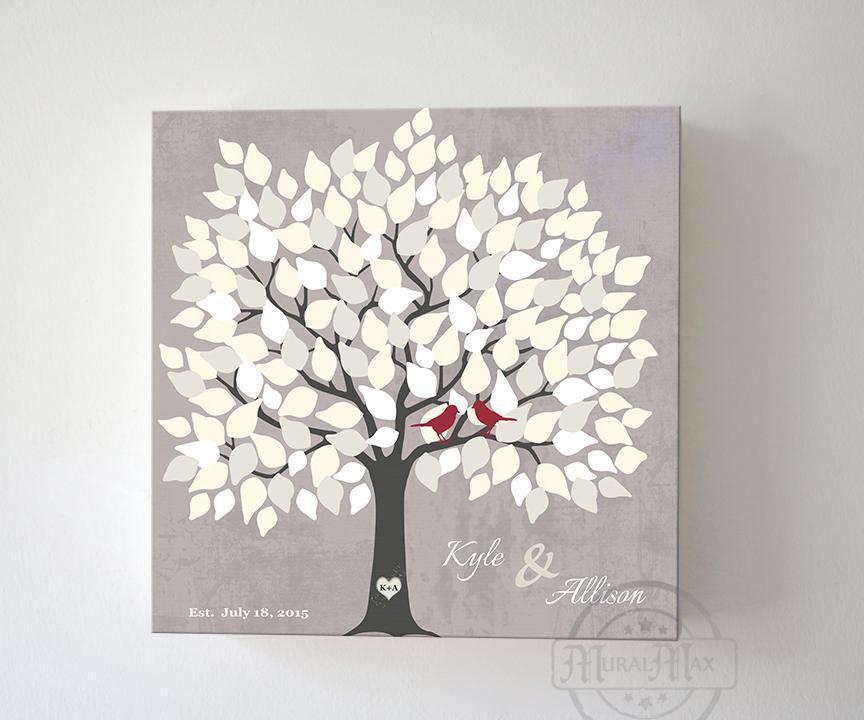 Alternative Wedding Guest Book - 150 Leaf Tree Stretched Canvas Wall Art - Anniversary Gifts, Unique Wall Decor - TaupeHomeMuralMax Interiors