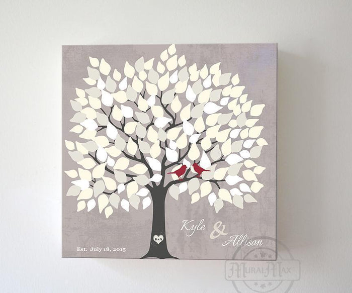 Alternative Wedding Guest Book - 150 Leaf Tree Stretched Canvas Wall Art - Anniversary Gifts, Unique Wall Decor - Taupe