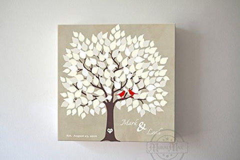 Custom Alternative Wedding Guestbook 150 Leaf Tree Canvas Wall Art, Anniversary Gifts, Unique Wall Decor - Beige150Leaf - B01L2L4R8G-MuralMax Interiors