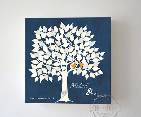 Wedding Guestbook 100-150 Leaf Family Tree Stretched Canvas Wall Art - Couples Gifts - Unique Wall Decor - Navy