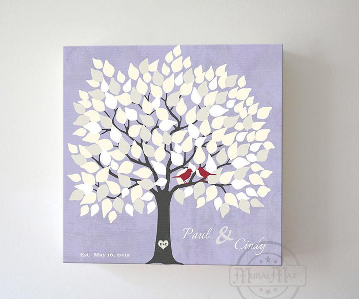 Wedding Gift - Custom Alternative Wedding Guest Book 100-150 Leaf Family Tree Canvas Wall Art - Unique Guest Book Ideal - Lilac