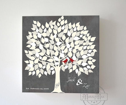 Custom Alternative Wedding Signature Book, 150 Leaf Tree, Stretched Canvas Wall Art, Anniversary Gifts, Unique Wall Decor - Gray # 2150Leaf - B01L2L4R8G-MuralMax Interiors