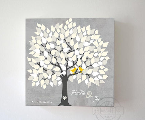Couples Wedding Gift Guestbook Alternative 100 -150 Guest Family Tree Canvas Art, Anniversary Gifts, Unique Wall Decor - Gray - MuralMax Interiors