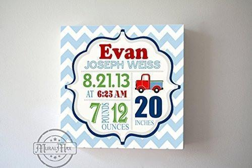 Custom Baby Birth Announcements For Boy - Truck Nursery Art Baby Boy - Make Your New Baby Gifts Memorable - Color: Blue - Canvas Wall Art - B018GT2UTK