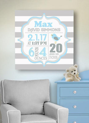 Custom Birth Announcements Wall Art - Bird Themed Boy Nursery Decor - New Mom GiftBaby ProductMuralMax Interiors