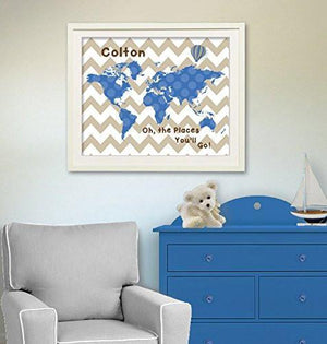 Custom Chevron Map - Baby Boy Nursery Decor - Unframed Print-B01D7RTUOE - MuralMax Interiors