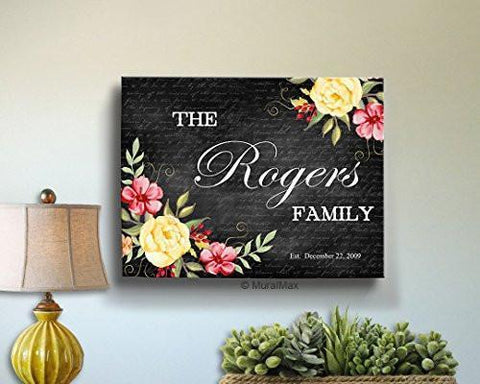 Custom Family Name & Date - Stretched Canvas Wall Art, Make Your Wedding & Anniversary Gifts Memorable, Unique Wall Decor, Color, Charcoal - B01D7R0J5I-MuralMax Interiors