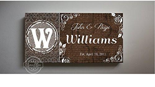 Custom Family Name & Established Date - Stretched Canvas Wall Art - Wedding & Memorable Anniversary Gifts - Unique Wall Decor - B01L4UVCTM