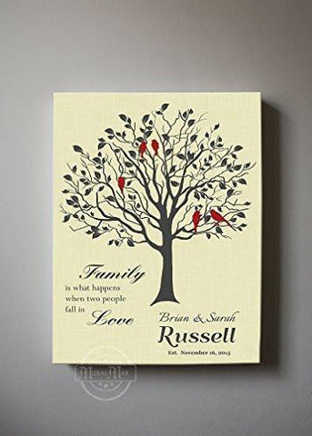 Custom Family Tree Canvas Art - When Two People Fall In Love - Wedding & Anniversary Gifts - Cream-MuralMax Interiors