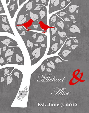 Custom Family Tree Canvas Wall Art - Tree with Love Birds Wedding & Anniversary Gifts - Unique Decor - Color - Gray # 4 - B01I0AODJK - MuralMax Interiors