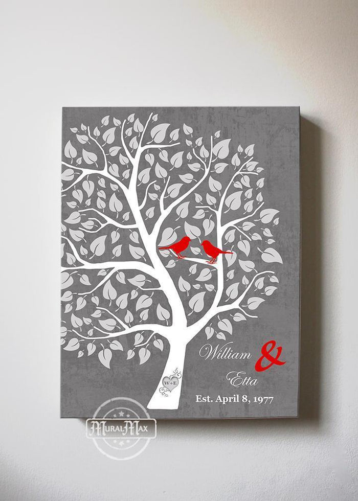 Custom Family Tree Canvas Wall Art - Tree with Love Birds Wedding & Anniversary Gifts - Unique Decor - Color - Gray # 4 - B01I0AODJK