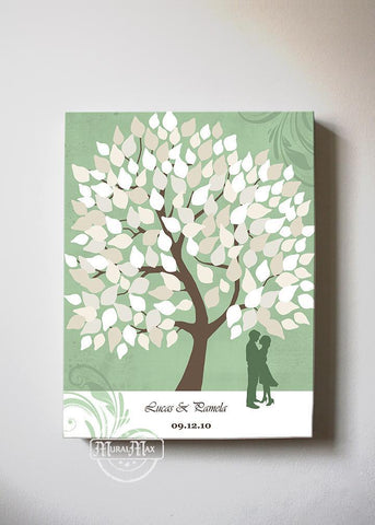 Custom Family Tree Guest Book Canvas Wall Art, Make Your Wedding & Anniversary Gifts Memorable, Unique Wall Decor - Green - B01LZ45D4T - MuralMax Interiors