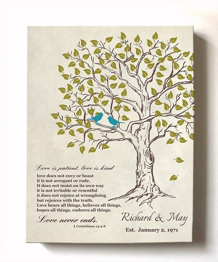 Custom Family Tree & Lovebirds with Bible Verse Stretched Canvas Wall Art, Wedding & Anniversary Gifts, Unique Wall Decor, Beige # 2 - B01HWLKOLO