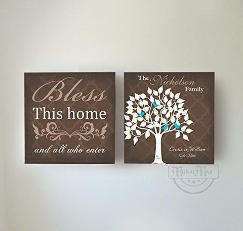 Custom Family Tree & Quote - Stretched Canvas Wall Art - Memorable Anniversary Gifts - Home Blessing - Set Of 2