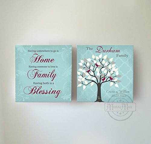 Custom Family Tree & Quote - Stretched Canvas Wall Art - Memorable Anniversary Gifts - Unique Wall Decor - 30-DAY - Set Of 2-B01LWI5CE4