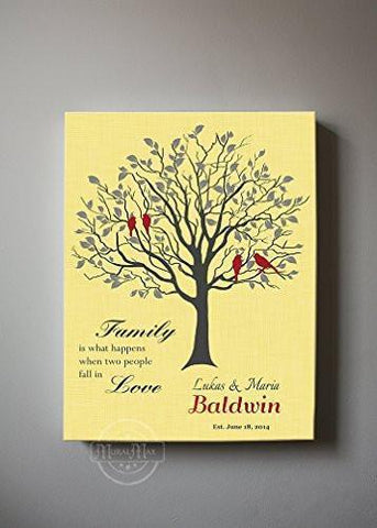 Custom Family Tree - When Two People Fall In Love Canvas Wall Art - Wedding & Anniversary Gifts - Sunshine Cream-MuralMax Interiors