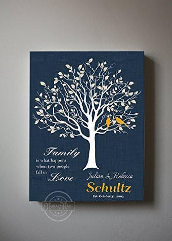 Custom Family Tree When Two People Fall In Love Stretched Canvas Wall Art Wedding & Anniversary Gifts - Navy Masterpiece - MuralMax Interiors