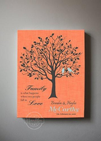 Custom Family Tree, When Two People Fall In Love, Stretched Canvas Wall Art, Wedding & Anniversary Gifts, Unique Wall Decor, Color, Charcoal - 30-DAY - Color - Butterfly Peach - B01KPFOJTC-MuralMax Interiors