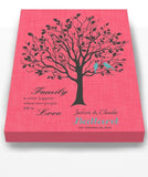 Custom Family Tree, When Two People Fall In Love, Stretched Canvas Wall Art, Wedding & Anniversary Gifts, Unique Wall Decor, Color, Charcoal - 30-DAY - Color - Confetti Pink - B01KPFOJTC - MuralMax Interiors