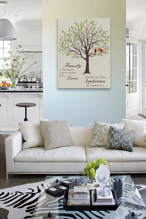 Personalized Wedding Gift for Couples Gift for Her Him Newlywed Engagement Anniversary Gift - Family Tree Canvas Art - Light TaupeHomeMuralMax Interiors