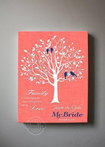 Custom Family Tree, When Two People Fall In Love, Stretched Canvas Wall Art, Wedding & Anniversary Gifts, Unique Wall Decor, Color, Charcoal - 30-DAY - Color - Paradise Peach - B01KPFOJTC-MuralMax Interiors