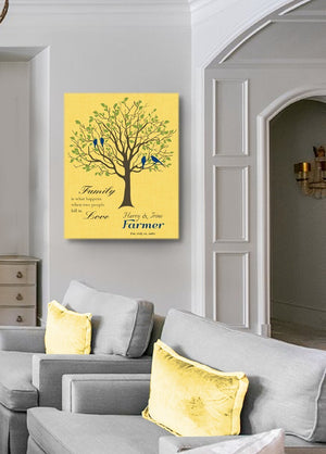 Custom Family Tree -When Two People Fall In Love Stretched Canvas Wall Art - Wedding & Anniversary Gifts - Yellow - MuralMax Interiors