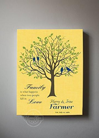 Custom Family Tree -When Two People Fall In Love Stretched Canvas Wall Art - Wedding & Anniversary Gifts - Yellow-MuralMax Interiors