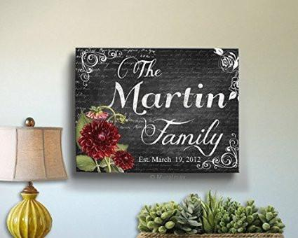 Custom Floral Family Name & Established Date, Stretched Canvas Wall Art, Wedding & Memorable Anniversary Gifts, Unique Wall Decor, Color - Gray - B018KOF41C-MuralMax Interiors