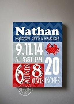 Custom Modern Birth Announcements For Boy - Chevron Shellfish Nursery Art Decor - Make Your New Baby Gifts Memorable - (Red & Navy) - Stretched Canvas - 30-DAY-B018GTDRHY - MuralMax Interiors