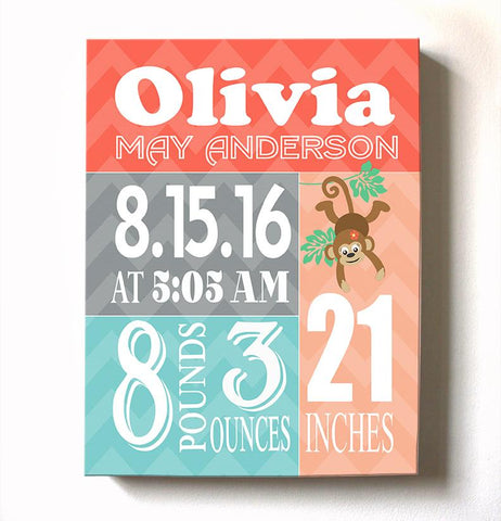 Custom Monkey Nursery Birth Stats - Baby Girl Announcements Canvas Nursery DecorBaby ProductMuralMax Interiors