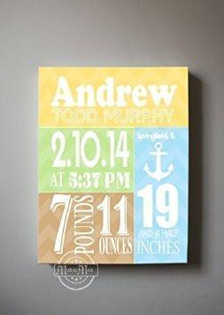 Custom Unique Birth Announcements For Boy - Chevron Nautical Nursery Art Decor - Make Your New Baby Gifts Memorable - (Brown & Mustard) - Stretched Canvas-B018GTCCOS