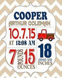 Custom Unique Birth Announcements For Boy - Chevron & Pickup Truck Nursery Art Decor - Make Your New Baby Gifts Memorable - (Tan & Navy) - Stretched Canvas - 30-DAY-B018GTBBPO - MuralMax Interiors