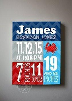 Custom Unique Birth Announcements For Boy - Chevron & Shellfish Nursery Art Decor - Make Your New Baby Gifts Memorable - (Blue & Red) - Stretched Canvas - 30-DAY-B018GT9QMY - MuralMax Interiors