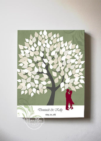 Custom Wedding Guest Book Family Tree Canvas Wall Art 150 Leaves, Make Your Wedding Memorable, Unique Wall Decor - Olive - B01LZ45D4T-MuralMax Interiors