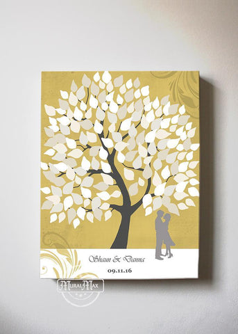 Custom Wedding Guest Book Family Tree Canvas Wall Art, Make Your Wedding & Anniversary Gifts Memorable, Unique Wall Decor - Gold - B01LZ45D4T-MuralMax Interiors