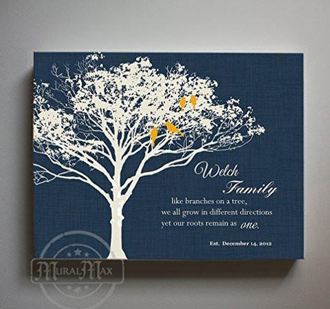 CUSTOMIZE YOUR CANVAS - Personalized Family Tree Canvas Wall Art - Navy # 2 - B01M11T4TV-MuralMax Interiors
