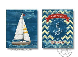 Distressed Chevron Art - Personalized Make Voyages Nautical Sailboat Theme - Unframed Prints - Set of 2-B018KOB0WO - MuralMax Interiors
