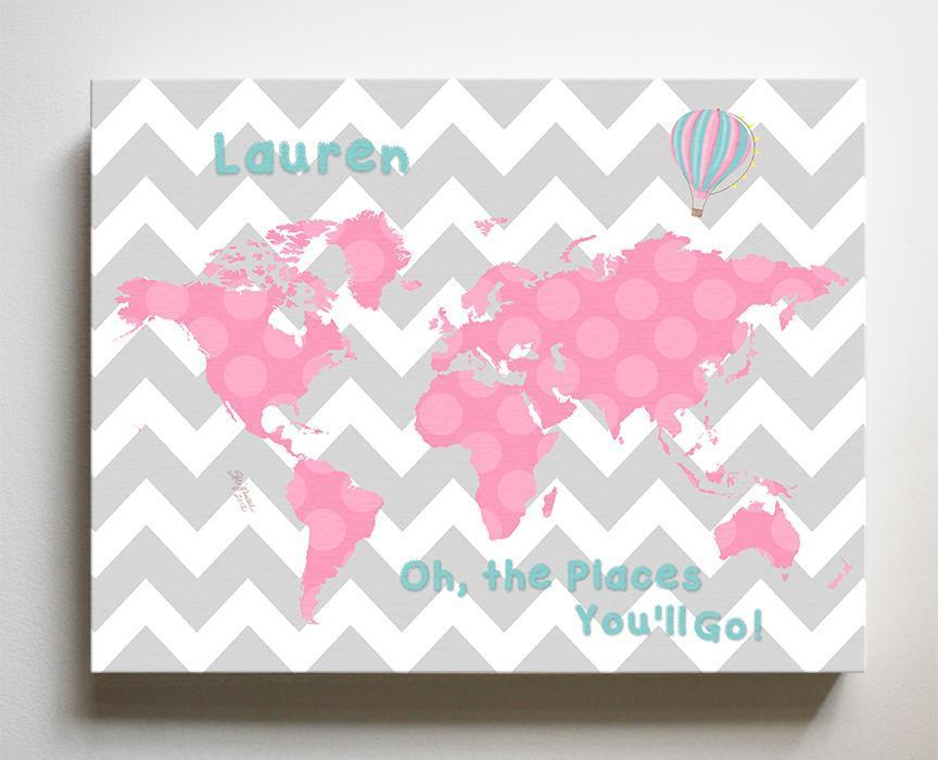 Dr Seuss Girl Nursery Decor - Chevron Canvas World Map Collection - Oh The Places You'll Go-B018ISNUAMBaby ProductMuralMax Interiors