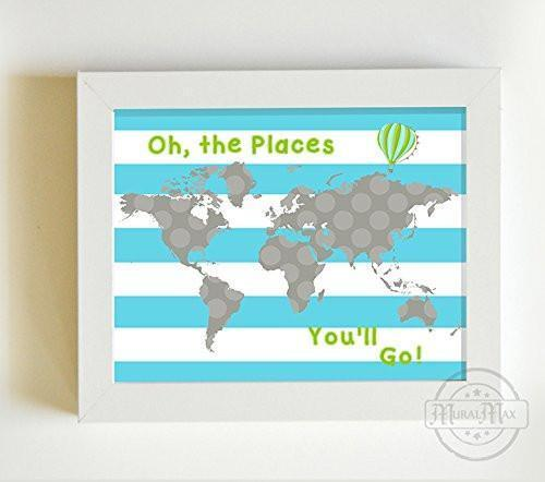 Dr Seuss Map Print - Personalized Oh The Places You'll Go Global Map Theme - Unframed Print-B01CRT8SLO