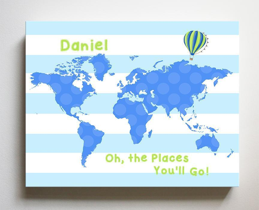 Dr Seuss Nursery Decor Personalized Striped Canvas World Map Kids Room Art - Oh The Places You'll Go-B018ISG496 - MuralMax Interiors