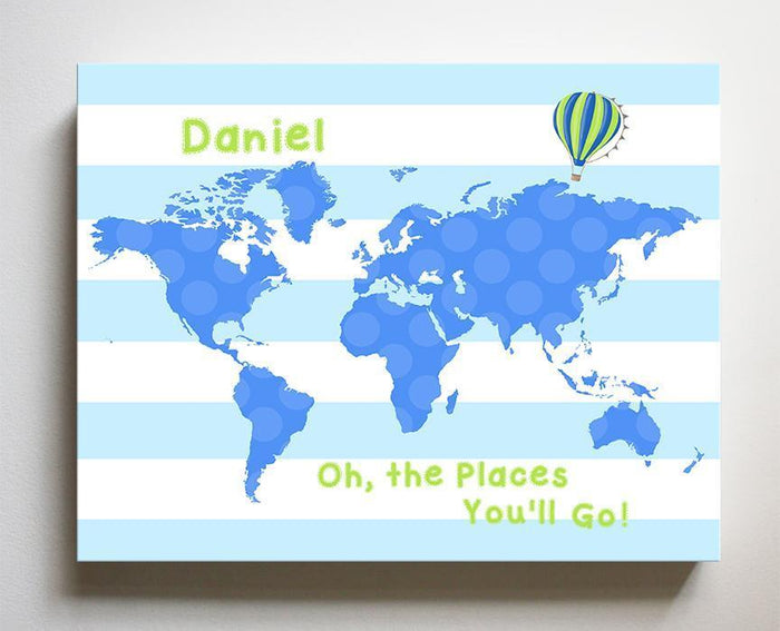 Dr Seuss Nursery Decor Personalized Striped Canvas World Map Kids Room Art - Oh The Places You'll Go-B018ISG496