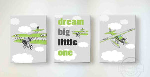 Dream Big - Airplane and Hot Air Balloon Nursery Decor - Boys Room Canvas Nursery Wall Art - Set of 3 - MuralMax Interiors